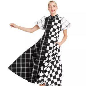 Mixed Checkerboard Puff Sleeve Shirtdress